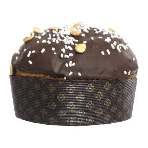 Panettone ricoperto al cioccolato e granella di mandorla