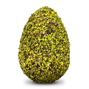 Uovo al cioccolato ricoperto con granella di pistacchio