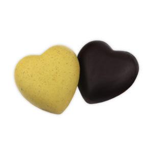 Cuori al pistacchio e cioccolato